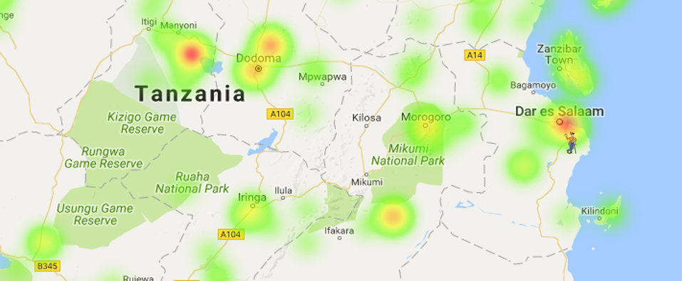 An example of a sub-national location data map in Tanzania using IATI data.