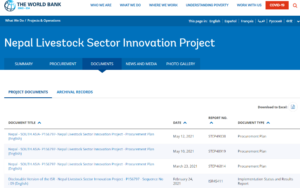 Screenshot of the World Bank Nepal livestock sector innovation project documents list as an example of good practice on data comprehensiveness.
